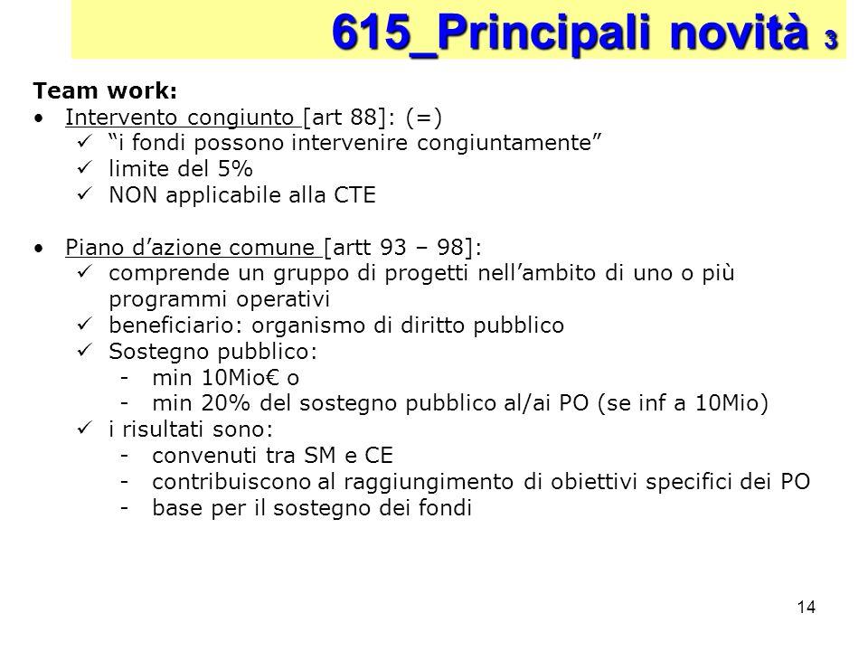 615_Principali novità 3 Team work: Intervento congiunto [art 88]: (=)